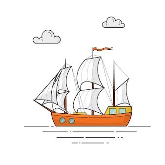Barco de colores con velas blancas.