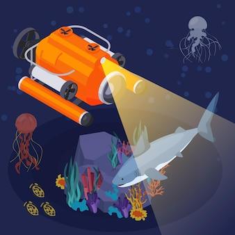 El barco de composición isométrica de máquinas y equipos de vehículos submarinos brilla un reflector bajo el agua por la noche