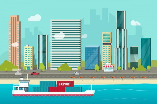 Barco de contenedores pesados marítimo que navega en el océano o puerto marítimo con contenedores de carga vector cartón plano