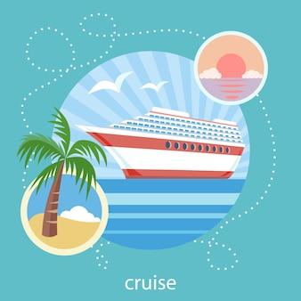 Barco de cruceros en agua azul clara cerca de la isla con la palmera. turismo acuático. iconos de viajes, planificación de vacaciones de verano, turismo y objetos de viaje.