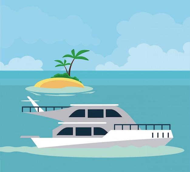 Barco deportivo en el icono del mar