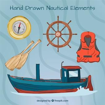 Barco dibujado a mano con elementos marineros