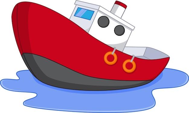 Barco de dibujos animados con agua