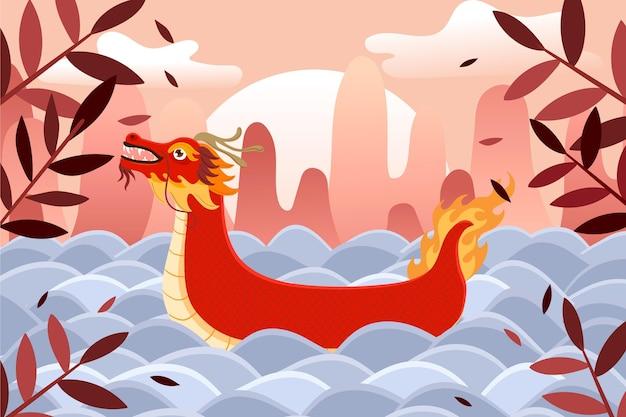 Barco dragón plano orgánico vector gratuito