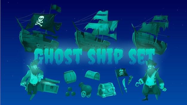 Barco fantasma con cofre del tesoro pirata y bandera negra de jolly roger