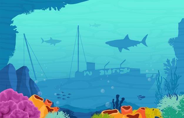 Barco hundimiento antiguo pez tiburón coral marino bajo el agua ilustración