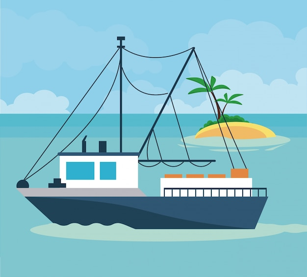 Barco de la nave en el icono del mar
