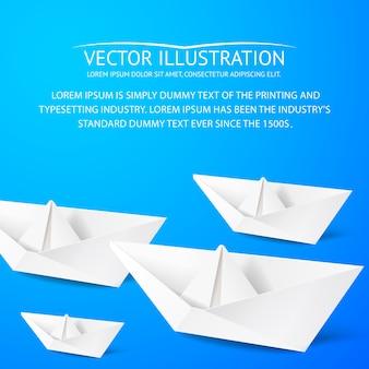 Barco de origami y plantilla de texto de muestra
