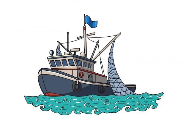 Barco de pesca en el mar. ilustración de vector aislado en blanco