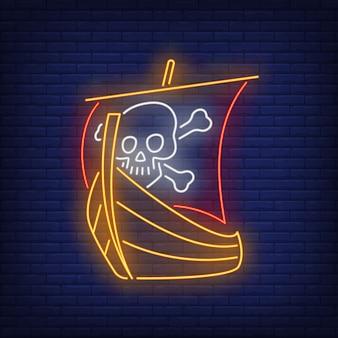 Barco pirata con calavera y huesos cruzados en vela letrero de neón