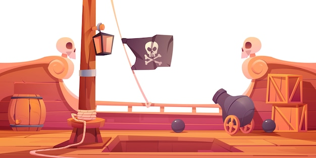 Barco pirata cubierta de madera vista a bordo con cañón