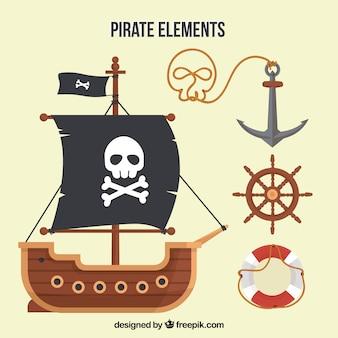 Barco pirata y elementos en diseño plano