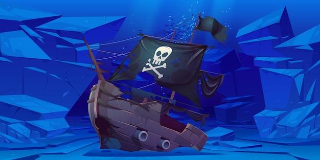 Barco pirata hundido con velas negras y bandera con calavera y tibias cruzadas en el fondo del mar