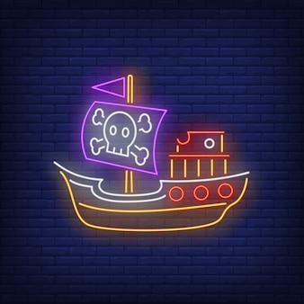 Barco pirata con letrero de neón jolly roger