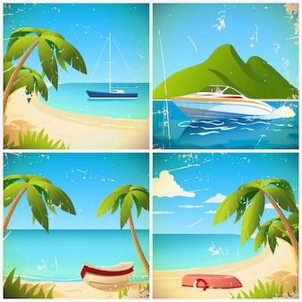 Barco en la playa retro