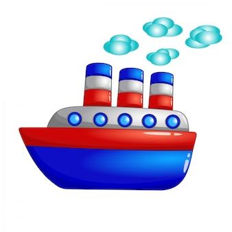 Barco rojo-azul de dibujos animados lindo