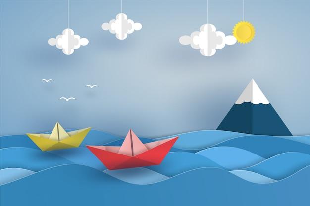 Barco rojo de origami en el océano en la ola del mar. diseño de ilustrador de vectores en concepto de corte de papel.