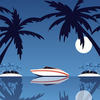 Barco ubicado en lugar tropical, isla paradisíaca, playa de arena de silueta de hoja de palmera, orilla, mar de luna de noche, viaje al océano, ilustración plana.
