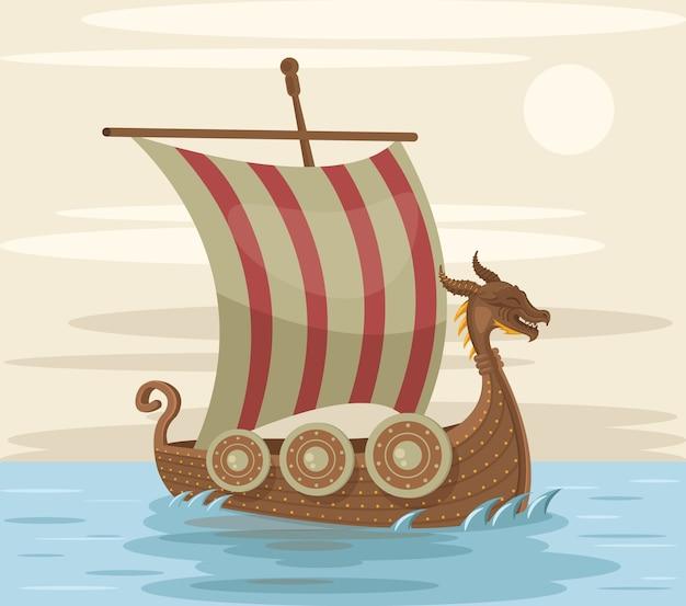 Barco vikingo. ilustración