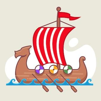 Barco vikingo navegando en el mar. velas llenas. batalla naval. bote de madera.