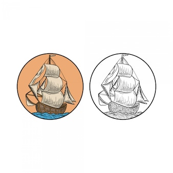 Barco vintage dibujado a mano grabado