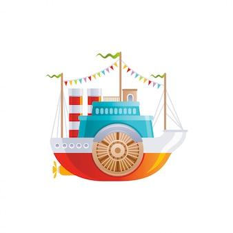 Barco vintage de dibujos animados con el icono de la rueda. viejo barco de río retro, viaje por mar, crucero y diseño de transporte acuático.