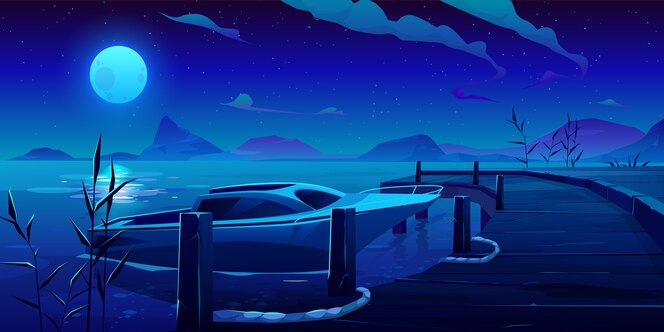 Barco, yate amarrado al muelle en la noche río o lago