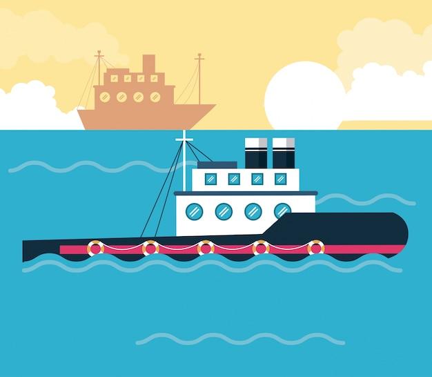 Barcos de barcos en el icono del mar