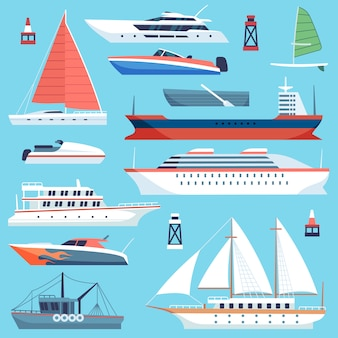 Barcos de barcos. transporte marítimo, crucero marítimo, yate con vela. conjunto plano de barcazas de carga de grandes embarcaciones