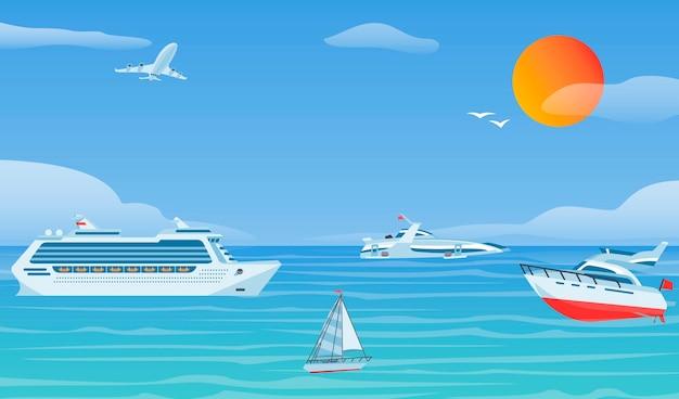 Barcos de mar y pequeños barcos de pesca. fondo de vector plano de veleros
