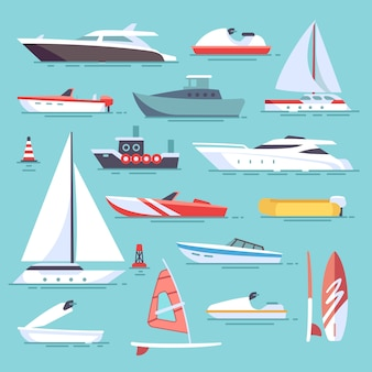 Barcos de mar y pequeños barcos de pesca. veleros planos iconos vectoriales. juego de transporte de agua en barco y ves.