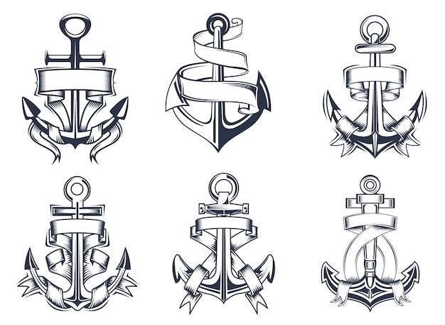 Los barcos de temática marina o náutica anclan con pancartas de cinta en blanco entrelazadas alrededor de las anclas, ilustración