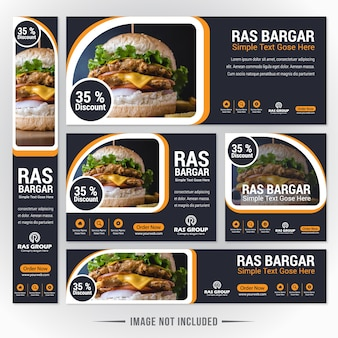 Bargar food web banner set para restaurante