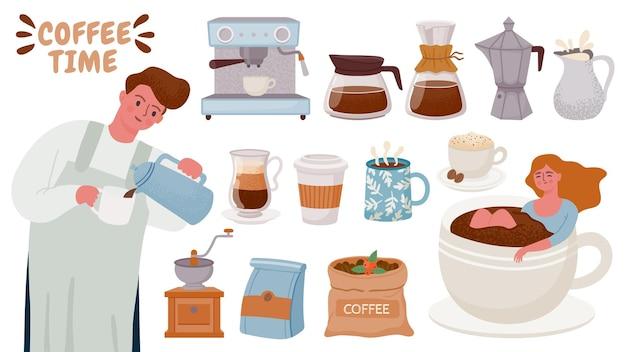 Barista y cafetera. herramientas para preparar capuchino, espresso, crema, tazas con bebida caliente para el desayuno. conjunto de vector de cafetera y ollas. café de la ilustración de la taza, beber café