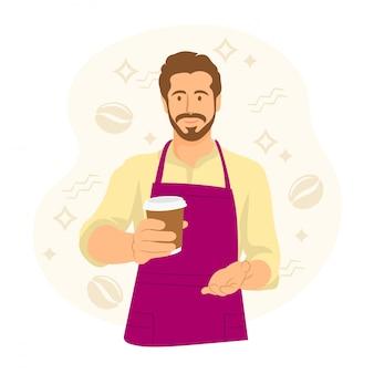 Barista en delantal con una taza de café