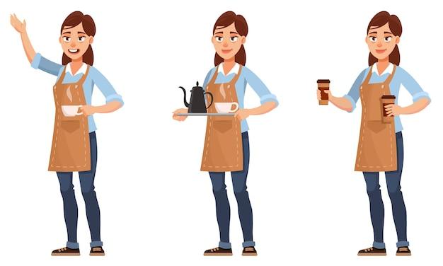 Barista en diferentes poses. personaje femenino en estilo de dibujos animados.