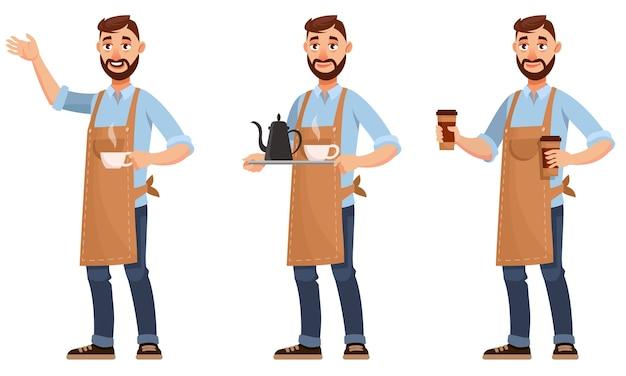 Barista en diferentes poses. personaje masculino en estilo de dibujos animados.
