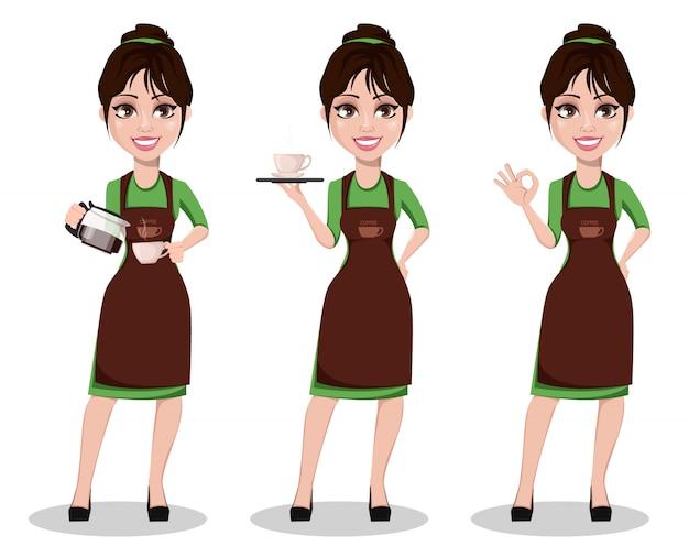 Barista femenina en uniforme profesional.