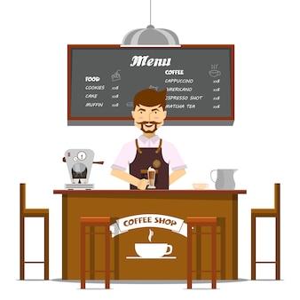 Barista hace diseño de café