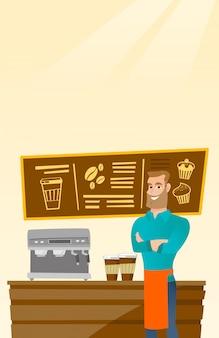 Barista de pie cerca de la máquina de café.