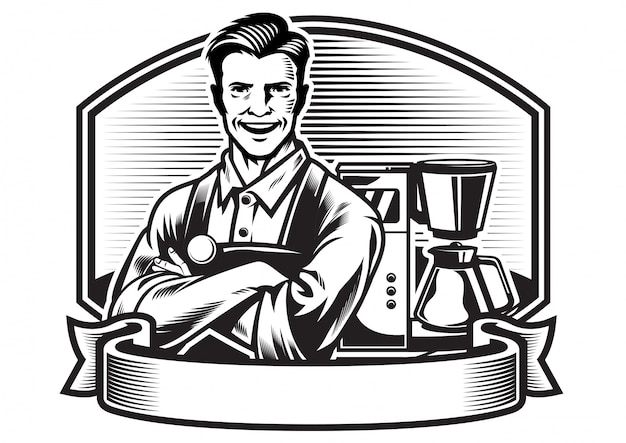 Barista sonriente con fondo de máquina de café espresso