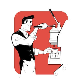 Barista sonriente preparando café con cafetera.