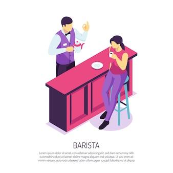 Barista con tetera cerca de escritorio de la barra durante el servicio al cliente en blanco isométrico