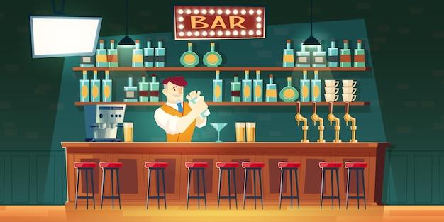 Barman en bar mezclando cóctel en agitador en mostrador