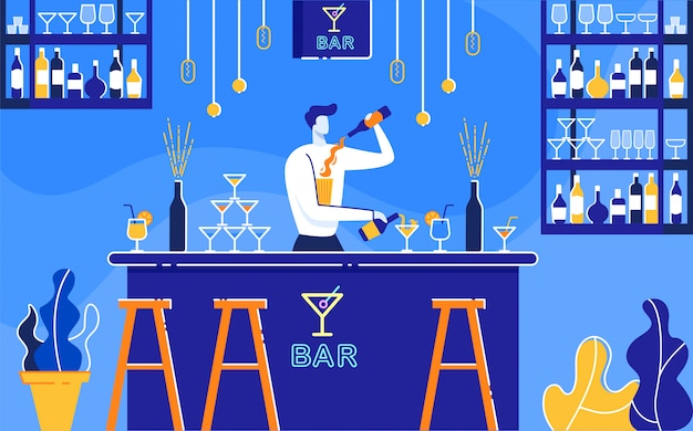 Barman preparando cócteles alcohólicos en bar flat.