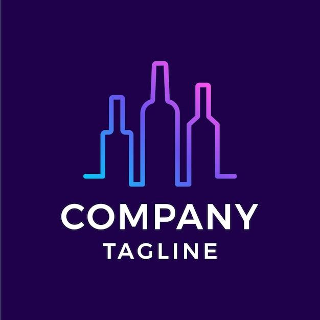 Barra de bebidas monoline simple línea de bebidas arte colorido diseño de logotipo degradado