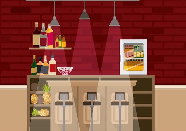 Barra con botellas licor escena vector ilustración diseño