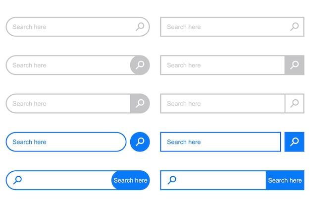 Barra de búsqueda para la interfaz de usuario. conjunto de elementos para la interfaz de diseño del sitio web. ilustración vectorial.