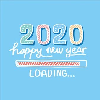 Barra de carga dibujada a mano saludo de año nuevo