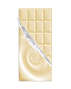 Barra de chocolate blanco en una envoltura con remolino